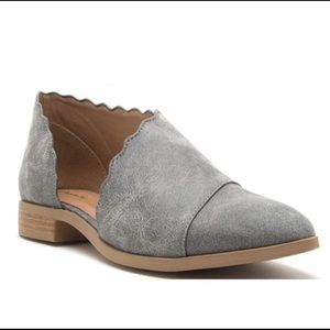 Gray Flat Pointed Toe Side Cut Bootie